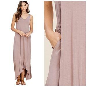 Dresses & Skirts - ATHENA NUDE TAUPE SLEEVELESS MAXI DRESS POCKETS